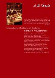 Herzlich willkommen Speisekarte Restaurant Arabesk