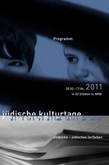 Jüdische Kulturtage in NRW 2011 vom 20. März bis 17. April
