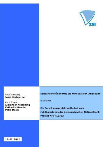 Solidarische Ökonomie als Feld Sozialer Innovation Endbericht Ein ...