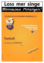 Textheft - Festausschuss Bonner Karneval eV