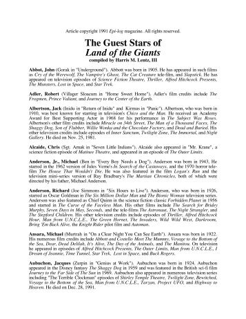 The Guest Stars of Land of the Giants - Alpha Control Press