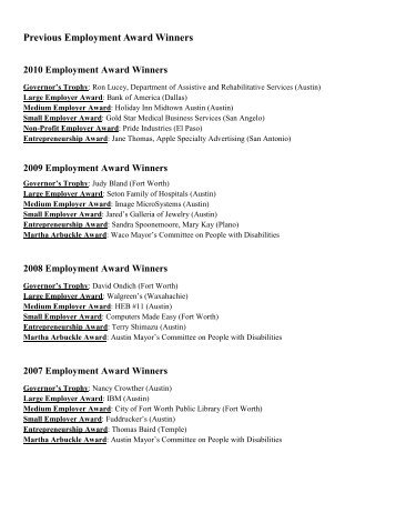 Previous Employment Award Winners - Office of the Governor - Rick ...