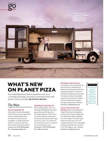 What's NeW oN PlaNet Pizza - Garagiste