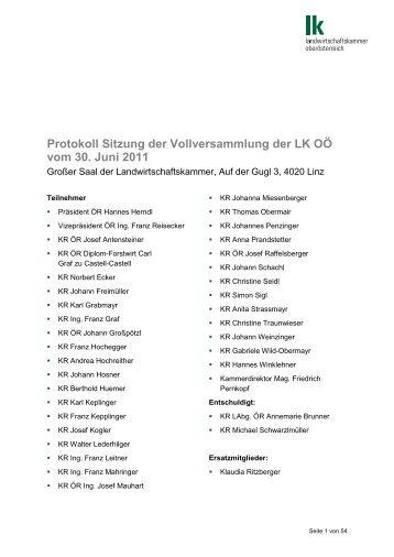 Protokoll Sitzung der Vollversammlung der LK OÖ vom 30. Juni 2011