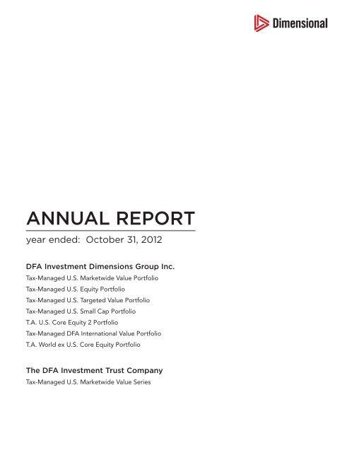 Annual Report - Dimensional Fund Advisors