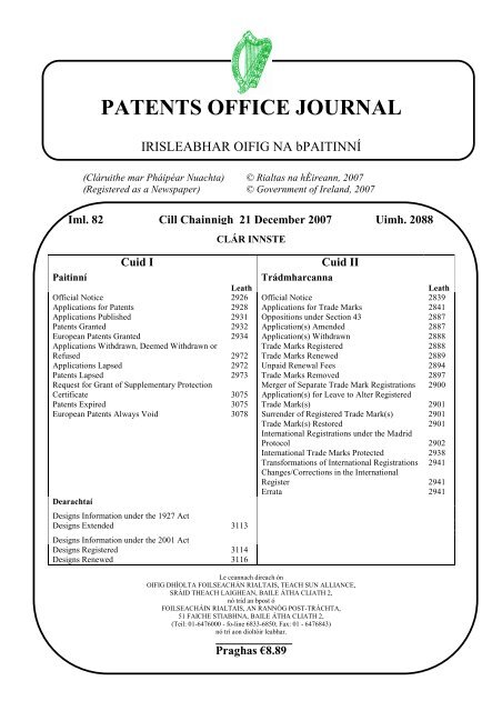 2088 Irish Patents Office