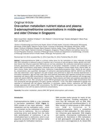 Original Article - International Journal of Molecular Epidemiology ...