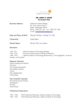 DR. LEROY E. HOOD Curriculum Vitae Business Address: Institute ...