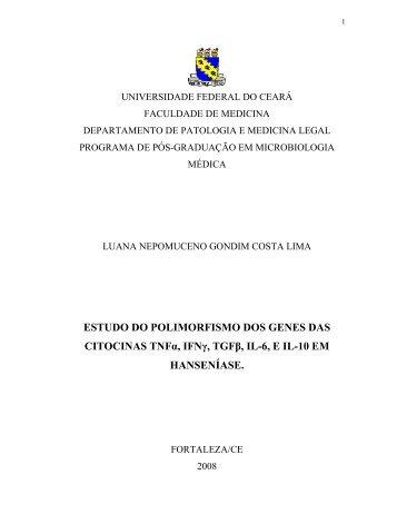 ESTUDO DO POLIMORFISMO DOS GENES DAS CITOCINAS TNFα ...