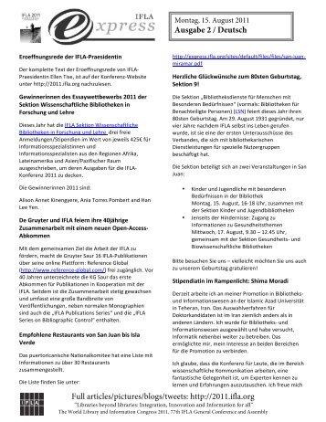 Ausgabe 2 / Deutsch - Die IFLA in Deutschland