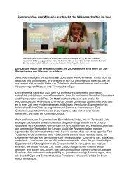 Sternstunden des Wissens zur Nacht der Wissenschaften in Jena