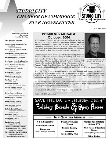 PRESIDENT'S MESSAGE October, 2004 - Studio City Chamber of ...