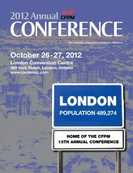 2012 Annual CONFERENCE - Canadian Federation of Podiatric ...