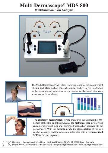 Multi Dermascope® MDS 800 - Skin Analysis at the ... - ODAK ECZA