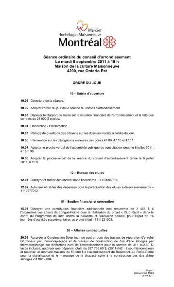 Séance ordinaire du conseil d'arrondissement Le ... - Ville de Montréal