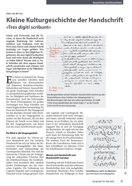 Kleine Kulturgeschichte der Handschrift - Grundschulverband