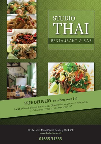 01635 31333 free delivery - Studio Thai Restaurant and Bar