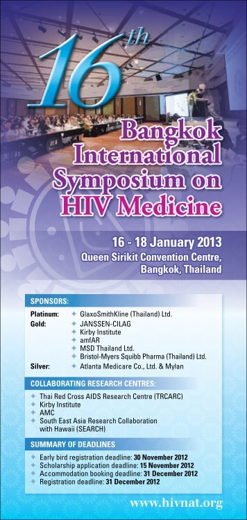 Bangkok International Symposium on HIV Medicine ... - HIV-NAT