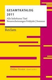 Gesamtkatalog 2011 | Alle lieferbaren Titel ... - Reclam