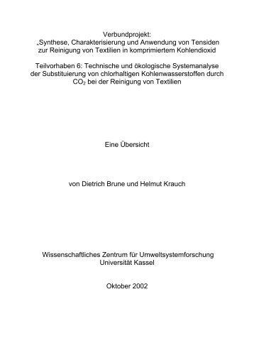 "Verbundprojekt: ""Synthese, Charakterisierung ... - Universität Kassel"