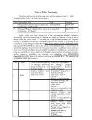 Notice of Written Examination