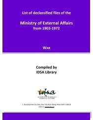 Ministry of External Affairs - Institute for Defence Studies and Analyses