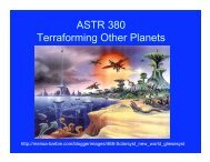 ASTR 380 Terraforming Other Planets