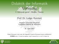 Lernen - Didaktik der Informatik - Bergische Universität Wuppertal