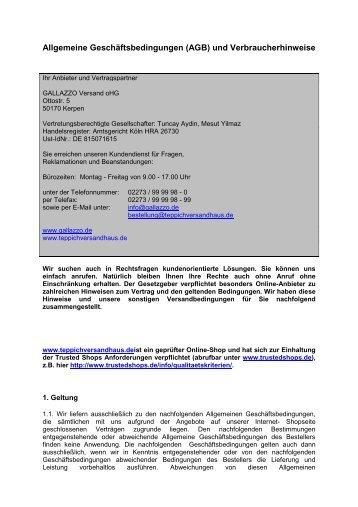 Allgemeine Geschäftsbedingungen (AGB) und ... - Gallazzo