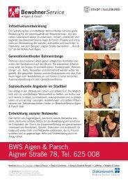 BWS Aigen & Parsch Aigner Straße 78, Tel. 625 008 - Stadt Salzburg