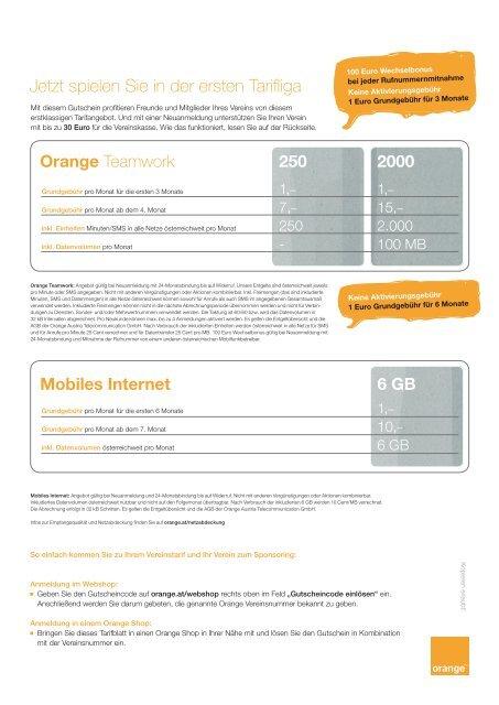 Mobiles Internet 250 2000 6 GB - Orange