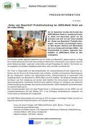Pressemitteilung 17.09.2012 - Gutes vom Bauernhof