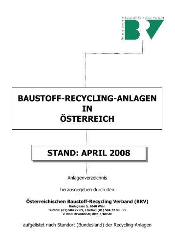 baustoff-recycling-anlagen in österreich - BRV