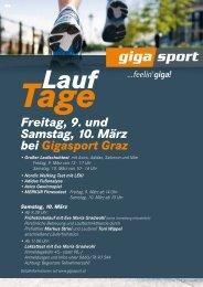 Freitag, 9. und Samstag, 10. März bei Gigasport Graz