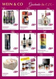 Geschenke bis € 25,– - Wein & Co