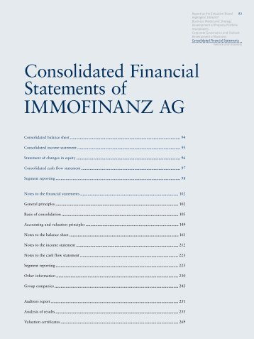 Consolidated Financial Statements of IMMOFINANZ AG (187 pages