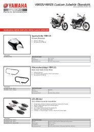 YBR125/YBR125 Custom Zubehör Übersicht - Yamaha Motor Europe