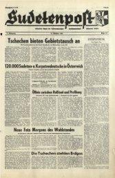 Tschechen bieten Gebietstausch an - Sudetenpost