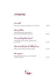 Speisekarte Restaurant ab 01.02.10. Englisch