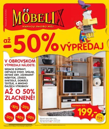 SKLADOVÝ VÝPREDAJ -50% až - moebelix.sk