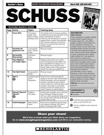 Arbeitsblatt 2 SCHUSS - Scholastic