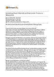 Möbelkaufhaus MömaX eröffnet erste Filiale in Slowenien - Firmendb
