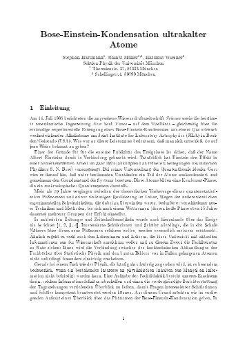 Bose-Einstein-Kondensation ultrakalter Atome - Technische ...