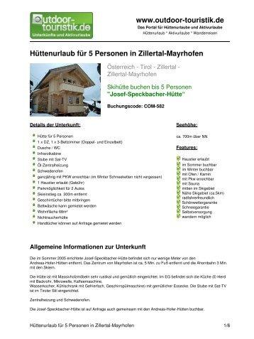 Hüttenurlaub für 5 Personen in Zillertal-Mayrhofen - Outdoor-Touristik