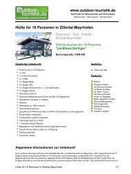 Hütte für 16 Personen in Zillertal-Mayrhofen - Outdoor-Touristik