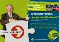 "Ihr aktueller Fahrplan. ""Darauf fährt Kärnten ab!"" - Fahrgast Kärnten"
