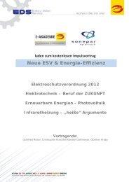 """Photovoltaik Infrarotheizung – """"heiße"""" Argumente Vortragende"""