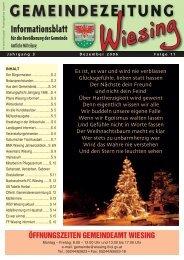 11. Ausgabe der Gemeindezeitung - Gemeinde Wiesing - Land Tirol