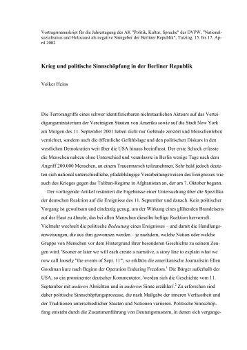 Krieg und politische Sinnschöpfung in der Berliner Republik