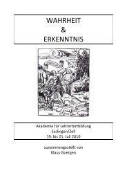 WAHRHEIT & ERKENNTNIS - Fachverband Ethik